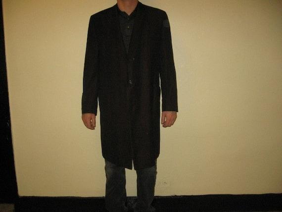 Metallic chocolate mens overcoat