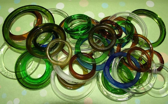 Recycled  Blue, Green  and Brown Recycled Kiln Polished Bottle Rings