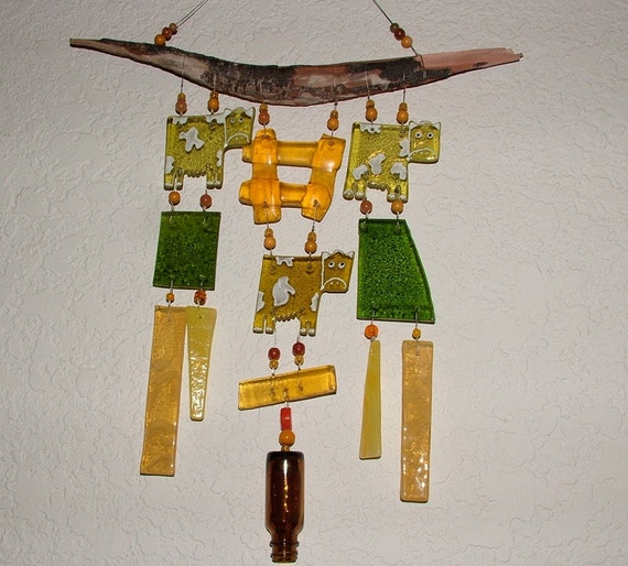 Cows Recycled Glass and Driftwood Wind Chime