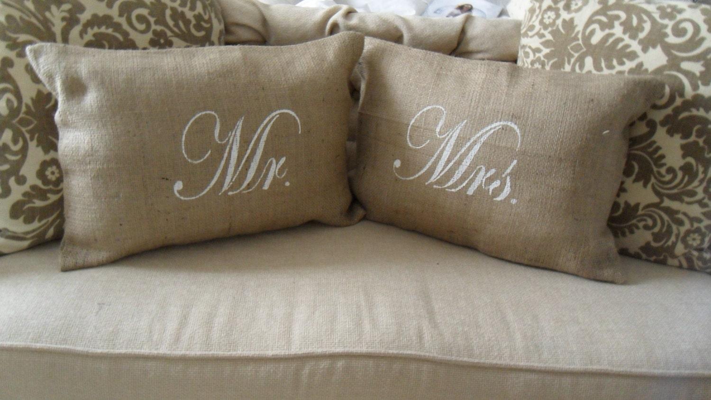 Shabby Chic Burlap Pillows : Mr. & Mrs. Burlap Pillow Covers 12x18 Shabby Chic