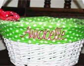 Easter Basket with Monogrammed Polka Dot Liner (Liner is in GREEN)