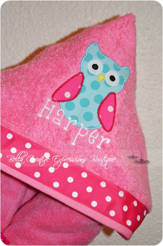 Owl Hooded Towel (other colors available for towel)