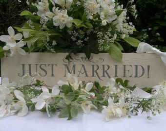 Wedding Sign in Cream and Soft Green. Hand painted. English Shabby Chic. Vintage Style on Reclaimed Wood with Cream Satin Ribbon