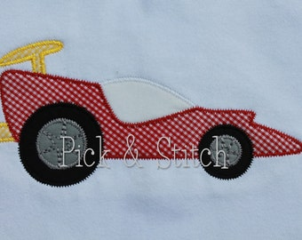 Race Car Applique Design Machine Embroidery Zig Zag and Bean Stitch INSTANT DOWNLOAD