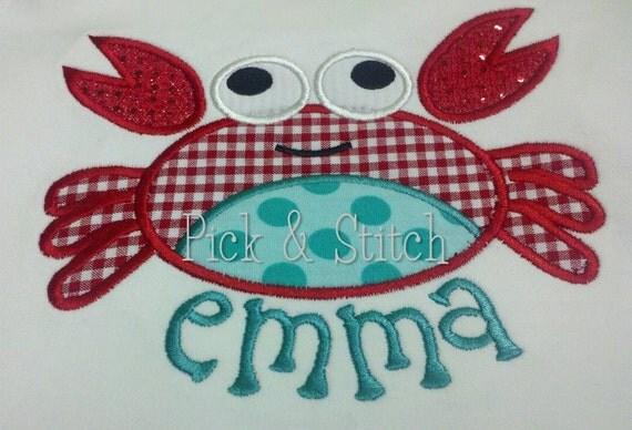 Crab Applique Design Machine Embroidery INSTANT DOWNLOAD