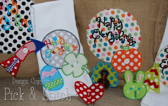 Happy Everything Applique Charm Set Machine Embroidery INSTANT DOWNLOAD