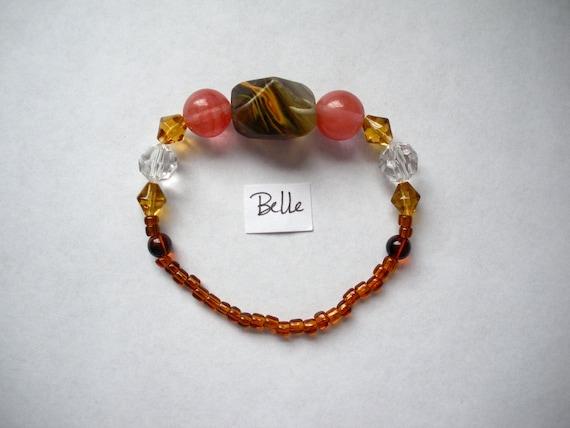 Belle bracelet Rock Shiny Girly Preppy Chic Pink Golden Elastic Beaded Jewelry