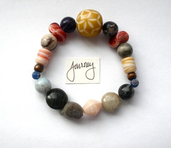 Journey bracelet Hippie Woodstock Boho Earthy Rock Striped Pebble Glass Marble Beaded Elastic Jewelry
