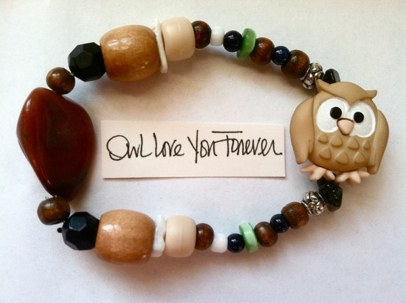 Owl Love You Forever bracelet Animal Forest Woodland Hoot Rock Beaded Hippie Earthy Stone Brown White Tan Jewelry
