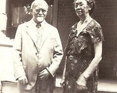 ON SALE Vintage Photo - Older Couple by the Front Doorsteps, He Looks Like Colonel Sanders w. White Hair, Glasses, & Beard - 1930s