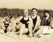 Vintage Photo - Family Day At the Beach, Swimsuits, Bathing Caps, and Beach Grass - 1930