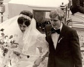 Great Vintage Wedding Photo - Young Bride & Groom Disembark from Horse and Carriage, Rose Bouquet Lace Veil Beehive Hair - Germany c. 1960s