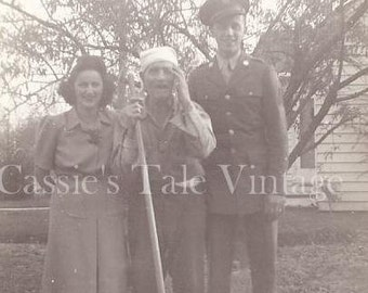 ON SALE - Vintage Photo - Young Soldier w. Family in the Yard, Uniform - Old Man w.  Expressive Face & Posture - c. 1940s