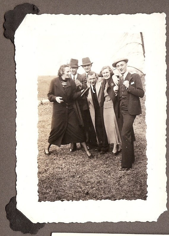 Great Vintage Photo, 1936 - Friends Having Fun Posing for the Camera, Young Couples, Overcoats, Laughing, Arm in Arm - 1930s