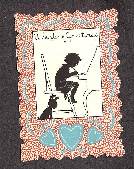Vintage Valentine's Day Card - Silhouette of a LIttle Girl Writing on a Desk, Sitting in a Tall Chair, Puppy Dog By Her Side