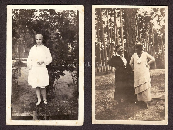Set of 2 Vintage Photos (RPPC) - Young Women in Great 1920s Style Clothes, Drop Waist, Cloche Hat, Hair Bob, Headband