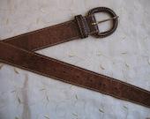 Leather Belt Women Brown 88 cm USED