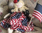 RESERVED for Patti Art Doll Soft Sculpture Doll Patriotic PATTI 15 inch OOAK Handmade HancraftedSigned