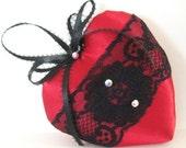 RESERVED for Colleen, Sachet Heart, RED Satin, BLACK Lace,  Lavender Buds, Prim Primitive Cloth Handmade CharlotteStyle Decorative Folk Art