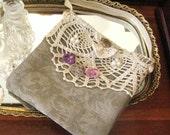 Small Handbag, Makeup Bag, Purse, Evening Bag, KHAKI, VINTAGE CROCHET, Prim Primitive Cloth Handmade CharlotteStyle Decorative Folk Art