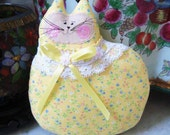 Cat Pillow Doll Cloth Doll 7 inch Cat YELLOW Primitive Soft Sculpture Handmade CharlotteStyle Decorative Folk Art