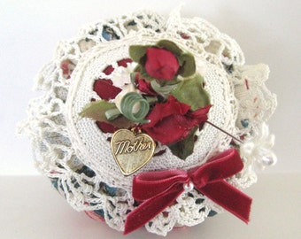 Pincushion for Mom Mother Handmade Soft Sculpture, Dark RED Roses, CharlotteStyle Sewing Needlecraft