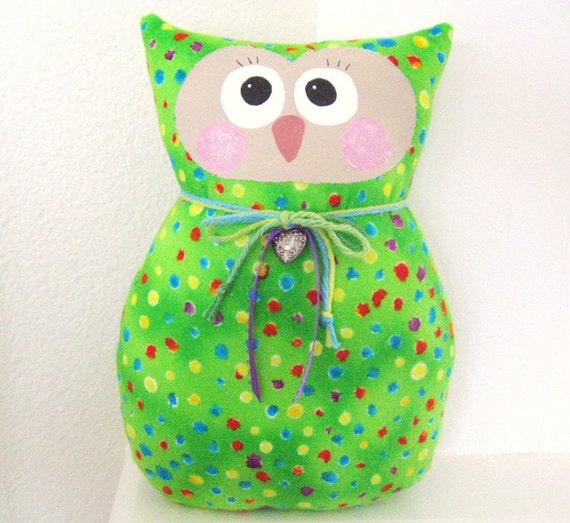 OWL Pillow, Owl Doll, Cloth Doll, Soft Sculpture, 9 in. VALENTINE, FLANNEL Prim Primitive Cloth Handmade CharlotteStyle Decorative Folk Art