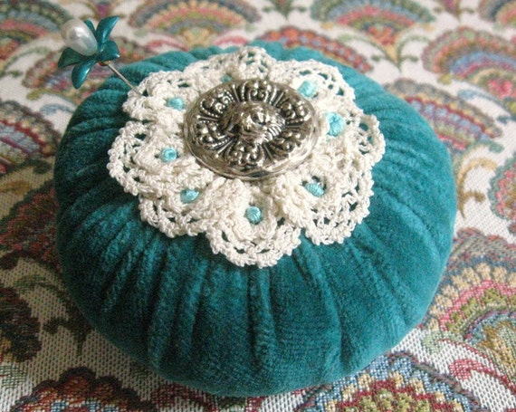 Pincushion Pin Keeper Flower, TEAL Velour Puff  Pincushion Handmade CharlotteStyle Sewing Needlecraft