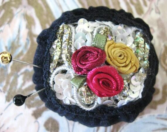 Pincushion Pin Keeper MINI Pinnie 2 inch BLACK Velveteen Puff  Pincushion Handmade CharlotteStyle Sewing Needlecraft