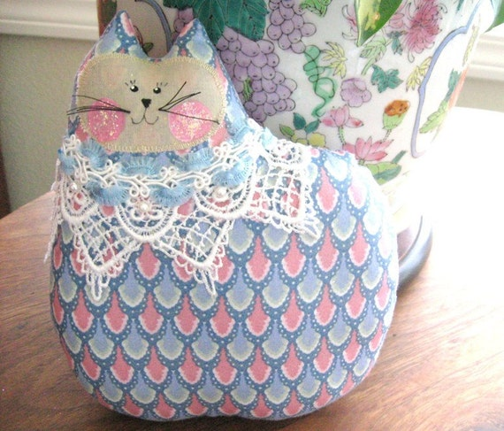 Cat Pillow Doll Cloth Doll 7 inch Cat BLUE and PINK Primitive Soft Sculpture Handmade CharlotteStyle Decorative Folk Art