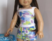 "American Girl Doll White Sands Beach Swimsuit with Skirt for 18"" doll"