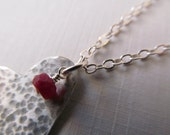 Sterling silver heart necklace with ruby gemstone