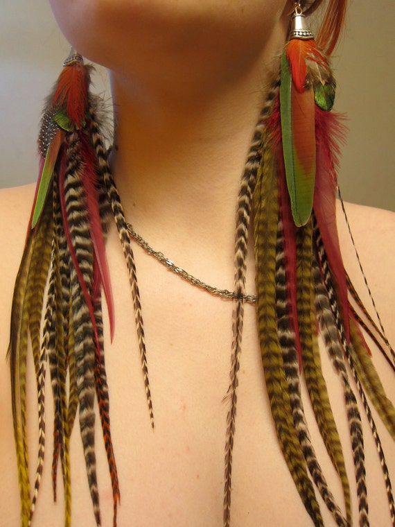 Aphrodite in the City - Exotic Natural Long Grizzly Feather Earrings - Ready to Ship