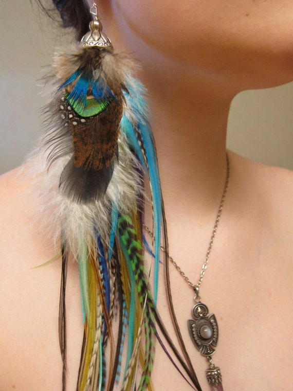 Antarctica Empress - SINGLE EARRING - Natural Extra Long Feather Earring - OOAK & Ready to Ship