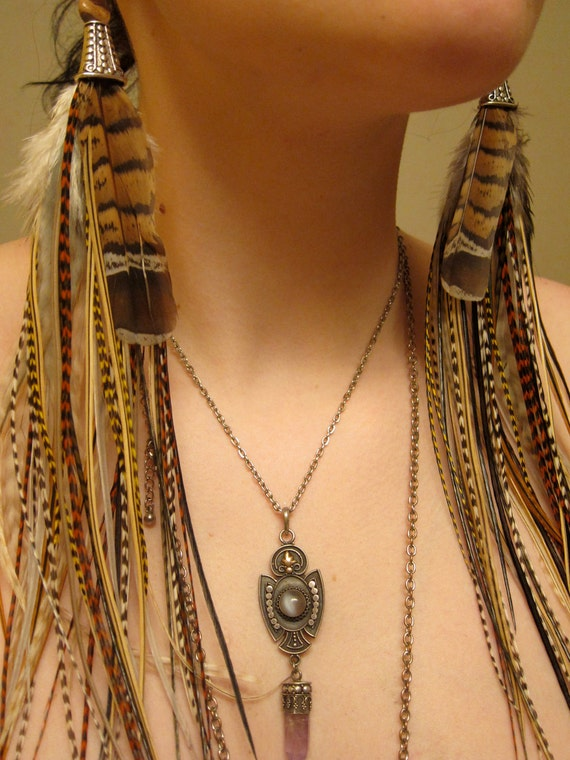 Beautiful Natural Long Feather Earrings - One of A Kind Princess - Only Pair & Ready to Ship
