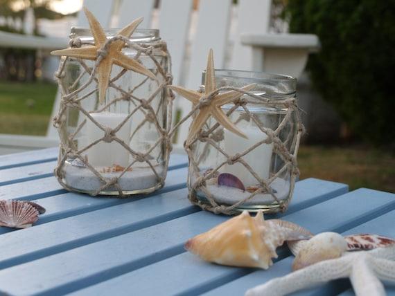 Candle Holder Jars Nautical Rope and Starfish (set of 2)