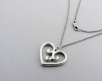 Romantic Heart Pendant ~ solid 925 Sterling Silver