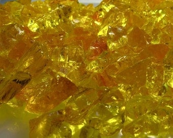 Yellow Orange Glass Transparent Chips Recycled 1/2 pound (C102)