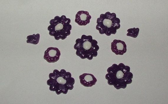 Flowers -  Purple and White Ceramic for Mosaics or Magnets 11 Flowers