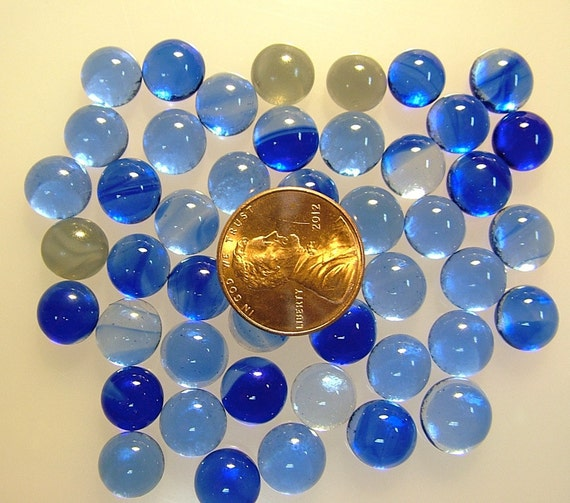 Kiln Formed Transparent Shades of Blue Glass Bubbles 47 Pieces (B200)