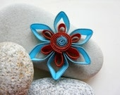 Aquamarine & Copper zipper flower brooch