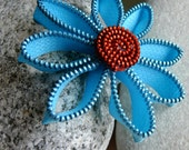 Blue Is the Sky zipper flower brooch