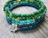 Hill Tribe Silver Ocean Sky Memory Wire Bracelet
