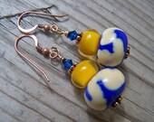 Lampwork Copper Swarovski Blue Yellow Beaded Earrings