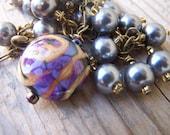 Glass Pearl and Lampwork Brass Swirl Bracelet