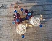 Lampwork Swarovski Crystal Copper Earrings