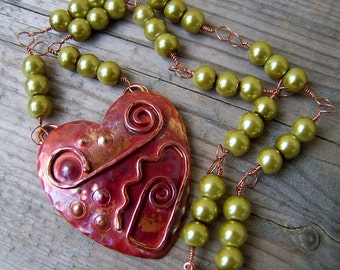 Solid Copper Heart Green Glass Pearl Wire Wrapped Necklace