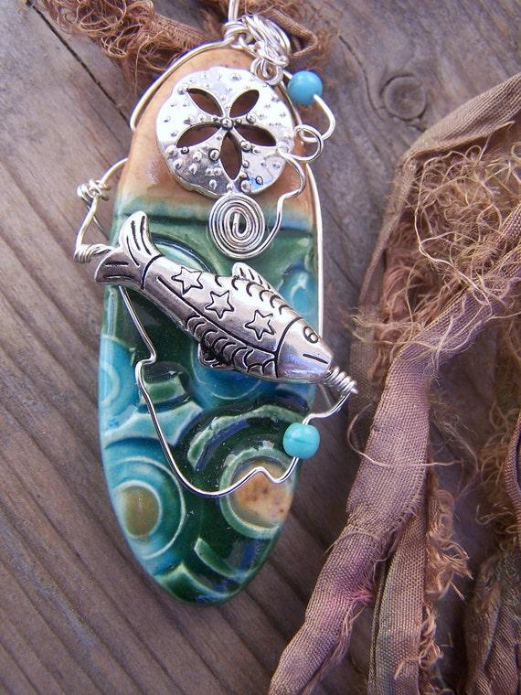 Ceramic Ocean Themed Silk Ribbon Necklace
