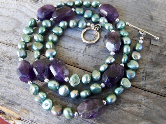 OOAK Beaded Amethyst Nugget Silver and Pearl Necklace