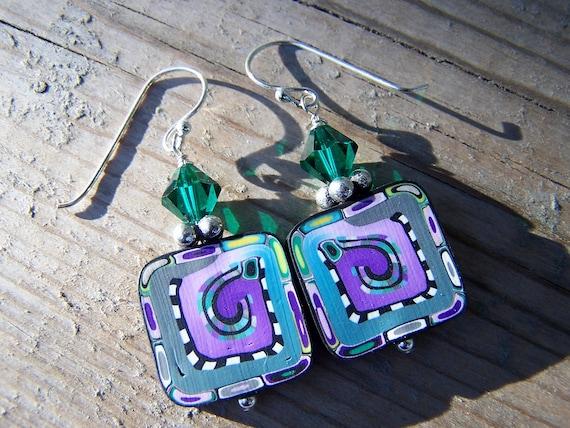 Polymer Clay Silver Swarovski Purple Green Earrings